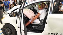 Bildnummer: 55609463 Datum: 21.07.2011 Copyright: imago/AFLO July 21st, 2011, Susonosi, Japan - Reporters view a heavily damaged Toyota VITZ after a head-on collision with a Toyota Crown at the speed of 55km/h (about 34 miles/h) in a demonstration at Toyotas Higashi-Fuji Technical Center on Thursday, July 21, 2011. PUBLICATIONxINxGERxSUIxAUTxHUNxONLY premiumd Wirtschaft Automobilinustrie Sicherheit Fahrzeugsicherheit Crashtest Crash Test Dummies Auto Sicherheitszentrum Forschung xdp 2011 quer Toyota Safety Technology damage accident cars air bag system crash demonstration test mess Susonosi Japan collision destroy Higashi-Fuji Technical Center Pre-Collision System millimeter-wave advanced prevention passenger seat technicians check airbag o0 Crashtest-Dummy, Crashtestdummy, Puppe o00 Fotostory
