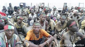 Mai-Mai rebels who sought refuge on UN premises in Lubumbashi. (Photo Delphin Bateko/ Panapress)
