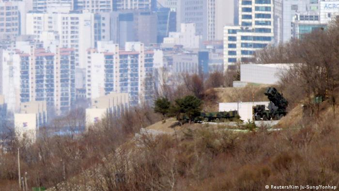 A set of Patriot missiles of South Korean military is seen deployed at an unidentified location in Seoul