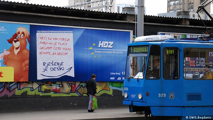 A campaign poster for the opposition HDZ conservatives on the streets of Zagreb in Croatia.