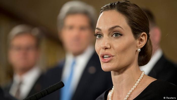 Actress and humanitarian campaigner Angelina Jolie speaks at a news conference on sexual violence against women during the G8 Foreign Ministers Meeting in central London April 11, 2013. REUTERSAlastair Grant/Pool (BRITAIN - Tags: POLITICS)