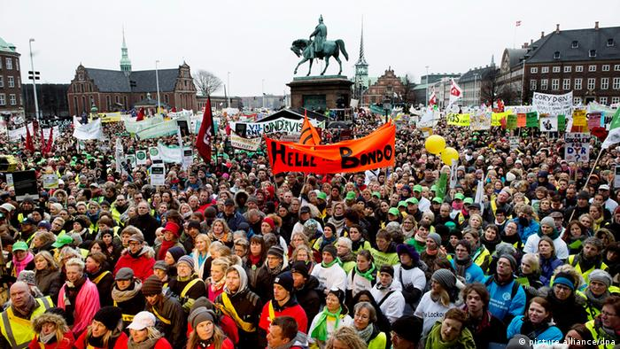 Teachers from schools all over Denmark demonstrate in front of the Danish Parliament in Copenhagen