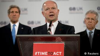 Britain's Foreign Secretary William Hague speaks at a news conference on sexual violence against women during the G8 Foreign Ministers Meeting in central London April 11, 2013. REUTERSAlastair Grant/Pool (BRITAIN - Tags: POLITICS)