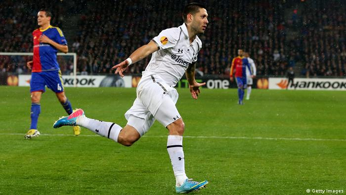 BASEL, SWITZERLAND - APRIL 11: Clint Dempsey of Spurs celebrates after scoring the opening goal during UEFA Europa League quarter final second leg match between FC Basel 1893 and Tottenham Hotspur at Stadion St. Jakob-Park on April 11, 2013 in Basel, Switzerland. (Photo by Julian Finney/Getty Images)
