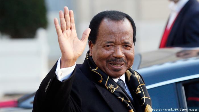 President Paul Biya of Cameroon waving to the camera
