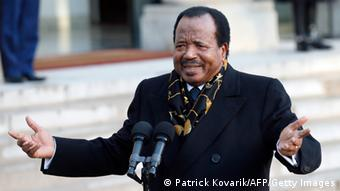 Cameroon president Paul Biya speaks to journalists following a meeting with French president at the Elysee Palace on January 30, 2013 in Paris. (Photo: PATRICK KOVARIK/AFP/Getty Images)