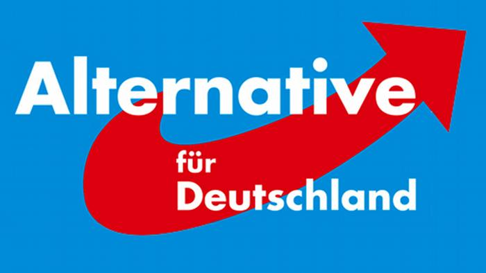In white, the words Alternative für Deutschland stand out from a blue background with a red arrow swooping upward.