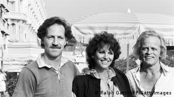 Herzog, Claudia Cardinale y Klaus Kinski durante la presentación de Fitzcarraldo.