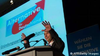 Bernd Lucke, co-founder of Germany's anti-euro party AfD 'Alternative fuer Deutschland' (Alternative for Germany) gestures during the first party meeting of Germany's anti-euro party AfD 'Alternative fuer Deutschland' on April 14, 2013 in Berlin. AFP PHOTO / JOHANNES EISELE (Photo credit should read JOHANNES EISELE/AFP/Getty Images)