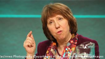 Catherine Ashton speaks at a press conference (c) Justin MacInnes / MacInnes Photography /The Department of the Taoiseach via Getty Images