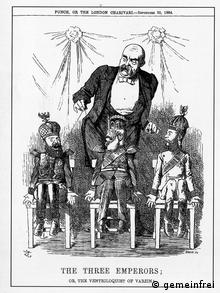 Кукловод Бисмарк и три императора - России, Австрии и Германии. Карикатура из британского журнала Панч (1884)