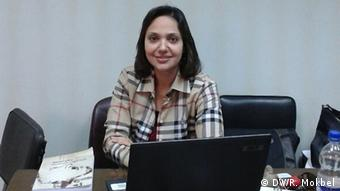 Violence in Egyptian Universities reflect wide political polarization. a Photo of Dr Mai Mogib at her office , a professor of Political Science in the Faculty of Economics and Political Science in Cairo University , her field study is comparative Politics.