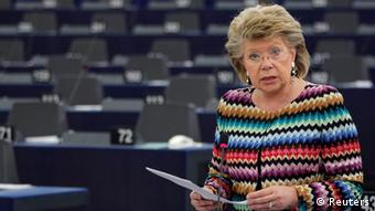 European Union Justice Commissioner Viviane Reding addresses the European Parliament during a debate on the constitutional situation in Hungary in Strasbourg, April 17, 2013. REUTERS/Vincent Kessler (FRANCE - Tags: POLITICS)