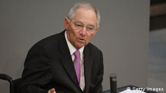 Bundesfinanzminister Schäuble bei einer Rede im Bundestag. (Photo by Sean Gallup/Getty Images)