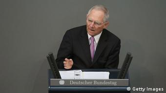 German Finance Minister Wolfgang Schaeuble gives a government statement prior to debates over EU finanical aid to Cyprus at the Bundestag on April 18, 2013 in Berlin, Germany. The Bundestag will vote later today whether to pass ESM support for Cyprus, which will help Cyprus banks with EUR 10 biilion. (Photo by Sean Gallup/Getty Images)