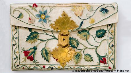 A silk embroidered 17th century wallet used or transporting letters.