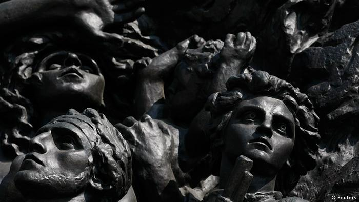 A part of scene on the Monument to the Ghetto Heroes is pictured in Warsaw April 17, 2013. The 70th anniversary of the Warsaw Ghetto Uprising will be commemorated on April 19, 2013. Picture taken April 17, 2013. REUTERS/Kacper Pempel (POLAND - Tags: ANNIVERSARY POLITICS SOCIETY)