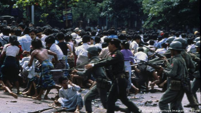 Soldiers intervening at a demonstration in 1988 in Myanmar