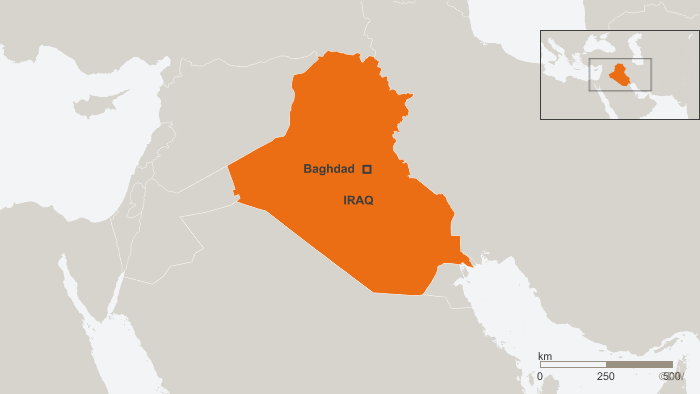 A map of Iraq showing the location of Baghdad