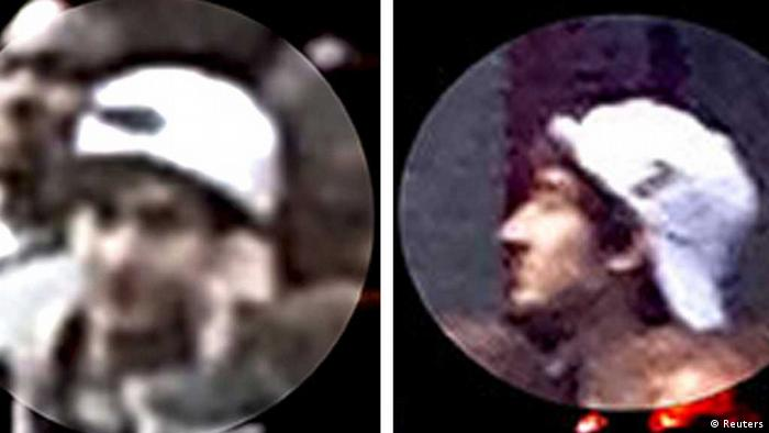 A suspect wanted for questioning in relation to the Boston Marathon bombing April 15 is seen in handout photos during an FBI news conference in Boston, April 18, 2013. REUTERS/FBI/Handout (UNITED STATES - Tags: CRIME LAW) THIS IMAGE HAS BEEN SUPPLIED BY A THIRD PARTY. IT IS DISTRIBUTED, EXACTLY AS RECEIVED BY REUTERS, AS A SERVICE TO CLIENTS--- eingestellt von haz