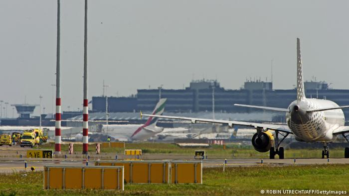 Plane landing at Schiphol Airport in Amsterdam