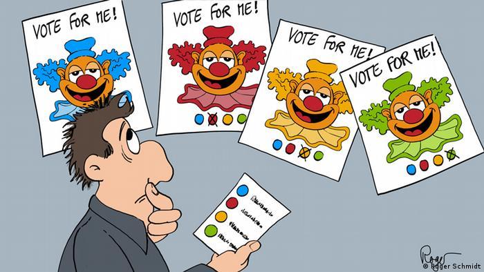 Карикатура Рогера Шмидта. На четырех плакатах, перед которыми стоит растерянный избиратель, изображены одинаковые клоуны.