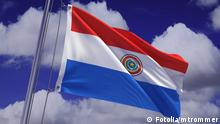 Detailed 3d rendering of the flag of Paraguay hanging on a flag pole and waving in the wind against a blue sky. Flag has a detailed fabric texture and accurate design and colors. #32940645 © Fotolia/ mtrommer
