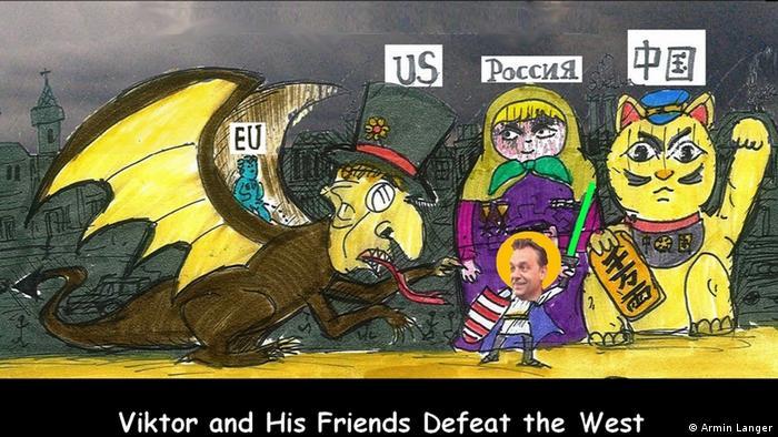 Farbige Karikatur von Armin Langer : Der ungarische Ministerpräsident Viktor Orbán steht als Ritter vor einer heuschrecke, die die EU symbolsiert. Hinter ihm Russland als Matrjoschkapuppe und China als winkende Katze Armin Langer hat uns die Karikatur verkauft, die Rechte liegen also bei der DW. Bild geliefert von DW/Suzanne Cords.