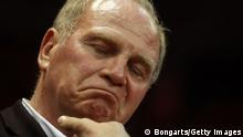 GettyImages 144536391 MUNICH, GERMANY - MAY 15: Uli Hoeness, President of Muenchen looks on after Game 4 of the BEKO BBL Quaterfinals between FC Bayern Muenchen and Artland Dragons at Audi-Dome on May 5, 2012 in Munich, Germany. (Photo by Alexander Hassenstein/Bongarts/Getty Images)