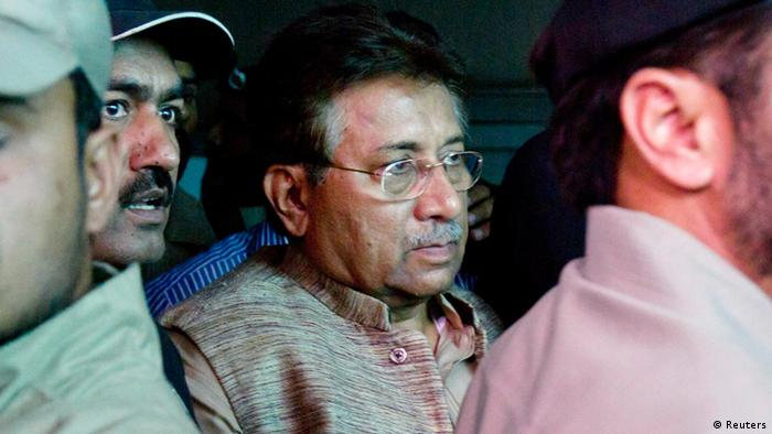 Pakistan's former president and head of the All Pakistan Muslim League (APML) political party Pervez Musharraf (C) is escorted by security officials as he leaves an anti-terrorism court in Islamabad, April 20 (Photo: REUTERS/Tanveer Ahmed)