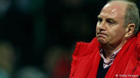 BREMEN, GERMANY - MARCH 01: Manager Uli Hoeness of Muenchen looks dejected after the Bundesliga match between Werder Bremen and Bayern Muenchen at the Weser stadium on March 1, 2009 in Bremen, Germany. (Photo by Lars Baron/Bongarts/Getty Images)