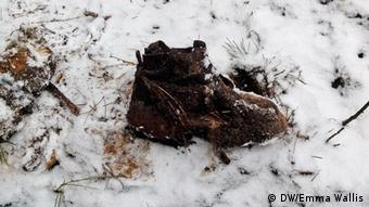 A soldier's boot from the Second World War found in one of the forest graves in Halbe (Photo: Emma Wallis)