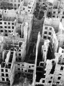 Konigstrasse in Berlin pictured after an Allied bombing campaign in September 1945