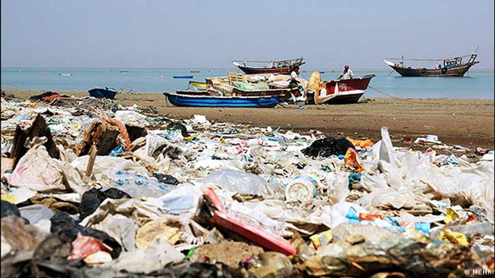 Trash on a beach in Iran