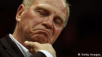 MUNICH, GERMANY - MAY 15: Uli Hoeness, President of Muenchen looks on after Game 4 of the BEKO BBL Quaterfinals between FC Bayern Muenchen and Artland Dragons at Audi-Dome on May 5, 2012 in Munich, Germany. (Photo by Alexander Hassenstein/Bongarts/Getty Images)