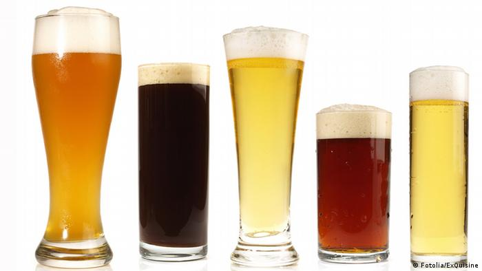 Five different beer glasses in a row, Photo: Fotolia