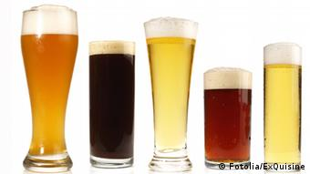 Five different beer glasses