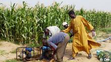 Bauer mit Bewässerungsanlage für den Maisfeld in Kwadiya Dorf bei Dutse, Jigawa, Nigeria. 29.03.2013, Kwadiya, Jigawa / Nigeria Copyright: DW