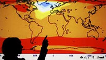 A world map with temperature predictions for 2470