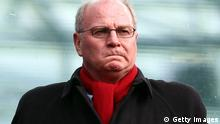 HANOVER, GERMANY - MARCH 05: Ulli Hoeness, president of Muenchen reacts before the Bundesliga match between Hannover 96 and FC Bayern Muenchen at AWD Arena on March 5, 2011 in Hanover, Germany. (Photo by Martin Rose/Bongarts/Getty Images)
