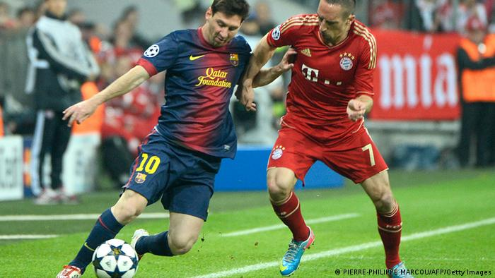 Barcelona's Argentinian forward Lionel Messi (L) fights for the ball with Bayern Munich's French midfielder Franck Ribery (R) during the UEFA champions league semi final first leg football match FC Bayern Muenchen vs FC Barcelona on April 23, 2013 in Munich, southern Germany. AFP PHOTO / PIERRE-PHILIPPE MARCOU (Photo credit should read PIERRE-PHILIPPE MARCOU/AFP/Getty Images)