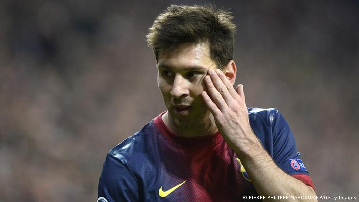 Barcelona's Argentinian forward Lionel Messi gestures during UEFA Champions League semi final first leg football match between FC Bayern Munich and FC Barcelona on April 23, 2013 in Munich, southern Germany. AFP PHOTO / PIERRE-PHILIPPE MARCOU (Photo credit should read PIERRE-PHILIPPE MARCOU/AFP/Getty Images)