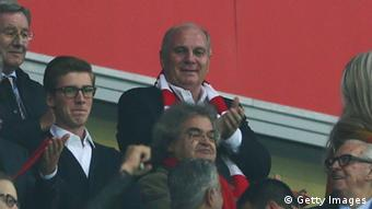 Bayern Munich President Uli Hoeness smiles after a goal (Photo: Alex Grimm/Bongarts/Getty Images)