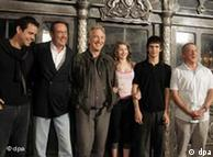 Produtor Bernd Eichinger, diretor Tom Tykwer e ator Dustin Hoffman em Munique