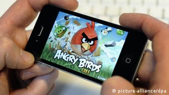 The Angry Birds game shown on a cell phone