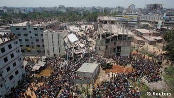 The ruins of the Rana Plaza factory collapse
