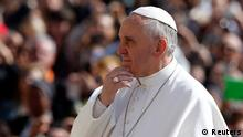 Pope Francis looks on as he arrives at the weekly audience in Saint Peter's Square at the Vatican April 24, 2013. REUTERS/Alessandro Bianchi (VATICAN - Tags: RELIGION)