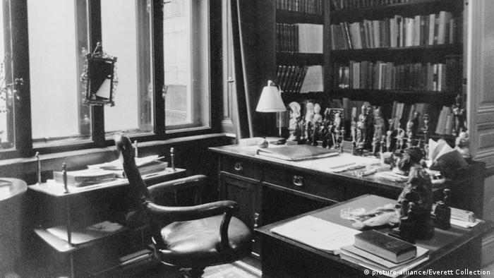 Sigmund Freud's writing desk in his office in Vienna as it looked in 1938 before his emigration to England when Germany annexed Austria. Freud's books were labeled Jewish Science and burned by Nazis. (Photo: Mary Evans Picture Library)