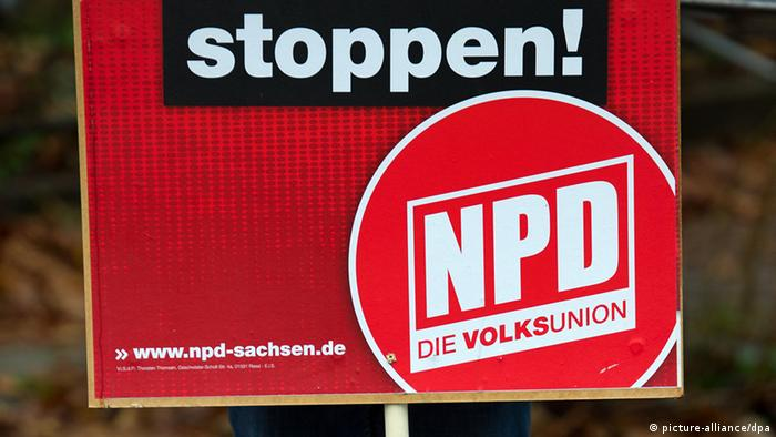 An NPD banner: Photo dpa - Bildfunk