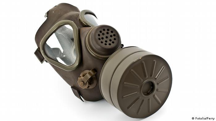 Auf dem Bild ist eine alte Gasmaske